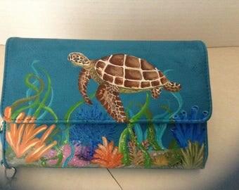 Painted Sea Turtle faux leather wallet / wristlet