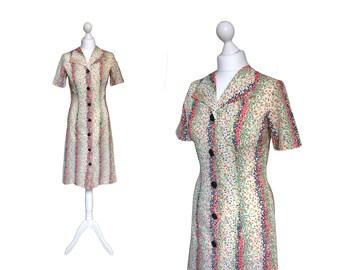Vintage 70's Dress | 1970's Dress | Multi Colour Speckle Short Sleeve Shirt Dress