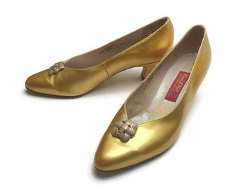 Vintage Van Dal Shoes | Gold Patent Shoes | Gold Shoes | 60's Retro Style | UK 7 | Vintage Pumps