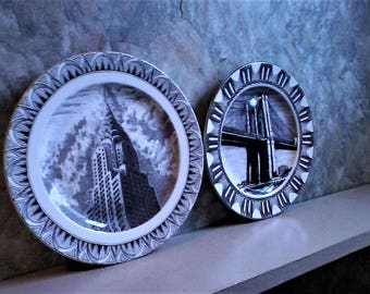 """New York City, """"Slice of Life"""" Plates by 222 FIFTH, Kent Barton, Chrysler Building and The Brooklyn Bridge, Brooklyn Bridge, collector plate"""