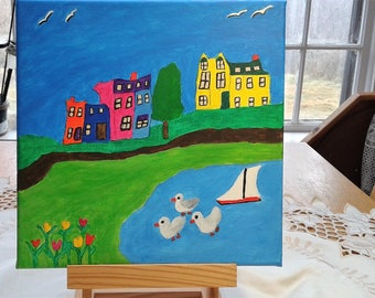 Folk Art Painting of Calm Bay in Newfoundland with Seagulls,sailboat