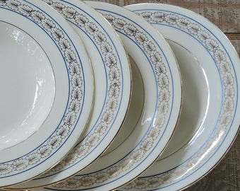 Atlas China Co Rimmed Soup Bowls Set of 4 French Farmhouse, Tea Parties, Cottage Style Replacement China