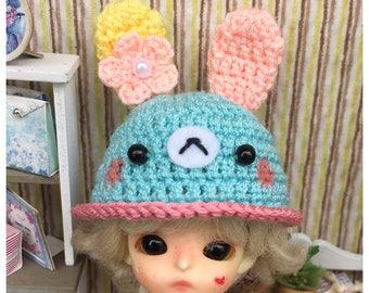 "Doll Hat for Lati White & Petite Blythe : ""Pastel Bunny Hat"" (Crochet Hat)"