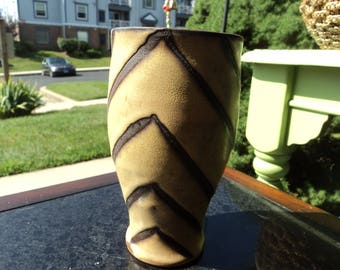 Handmade pottery/ Tan with brown lines in chevron pattern/vase