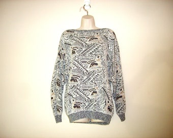 Vintage 1990s Geometric Boatneck Sweater