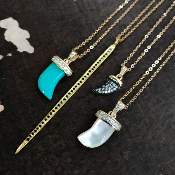 Horn necklaces, horn jewelry, boho necklace, boho jewelry, paved jewelry, mother of pearl, black spinel, turquoise howlite