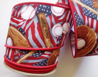 """Baseball Flag Wired Ribbon Trim, Multi Color, 2 1/2"""" inch wide, 1 yard, For Gifts, Scrapbook, Decor, Accessories, Mixed Media"""