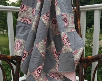 Quilted flower pink and grey minky blanket keepsake