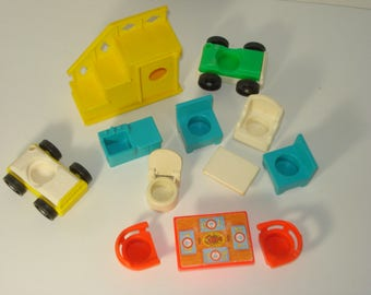 Fisher Price Furniture and Cars -  Stairs, Chairs, Tables, Toilet -  Children's Toy - 1970's Retro Play
