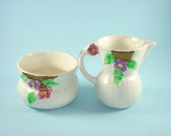 Vintage Wade Cream and Sugar Set - Retro Floral Heath Servingware  England 1950s