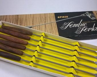 Vintage Fondue Forks  - Teak Serving Utensils - Long Fondu Forks Set of 6 - Japan - 1960s