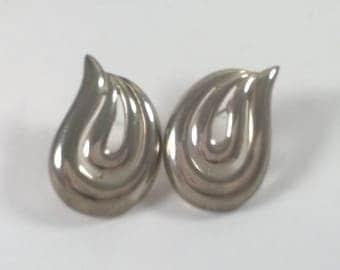 1980s Fashion Earrings - Silver Swirl  - Pierced Costume Jewelry