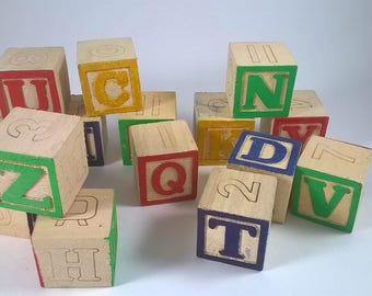 Wood Letter Blocks - Spelling Cubes - 15 -  Children's Toy - 1970's Retro Play