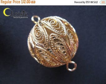 SALE Handmade Filigree Beads Gold Plated Copper Hollow Round extra large 22mm (1pc)
