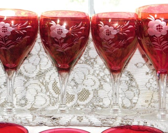 Red Sherry set 8/Wine glasses, Beautiful  Etched Flower, Red Wine Glasses, Red Sherry Glasses, Fancy Glasses, Vintage Bar Ware Glasses, )s*
