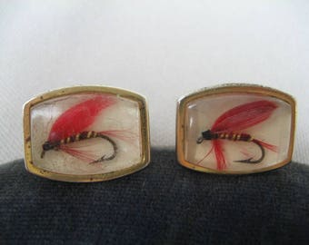 Vintage Cuff Links, Mid Century, With Fishing Flies, Red Flies, Gold Tone, Pair of Cuff Links, Mad Men