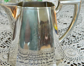 """Electroplated (EP) pitcher, Gorham, Monogrammed """"B"""", 1930s vintage, Art Deco style, never used"""