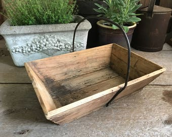 French Rustic Wood Trug, Berry Picking Basket, Iron Handle, Garden Tool Plant Tray, Storage Organizer, French Country Farmhouse