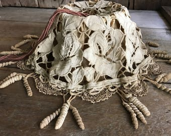 Antique French Linen Lace Lampshade, Handmade, Shabby Chic Decor, For Restoration