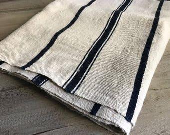 Black Stripe Linen Table Runner, French Grain Sack, Linen, Hemp, Cotton