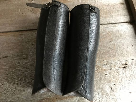 French Leather Gaiters Lace Ups Brown Pig Skin Handmade Spats Antique