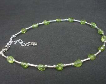 Natural Gemstone Peridot Oval Nugget - 925 Sterling Silver Liquid Silver Beads - Anklet Bracelet
