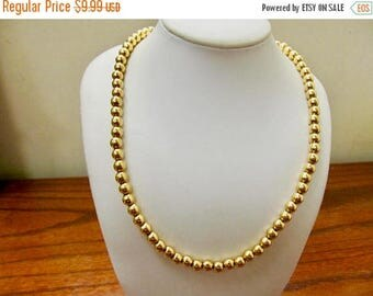 ON SALE MONET Vintage Long Gold Tone Beaded Necklace Item K # 838