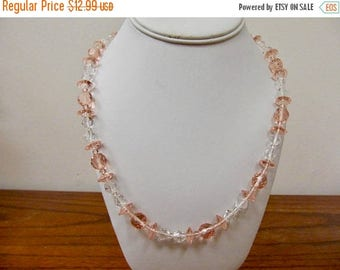 ON SALE Vintage Pink and Clear Glass Beaded Necklace Item K # 882