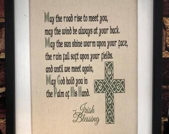 Irish House Blessing Wall Print Canvas Rustic Decor Hangings Prayer Housewarming Gift