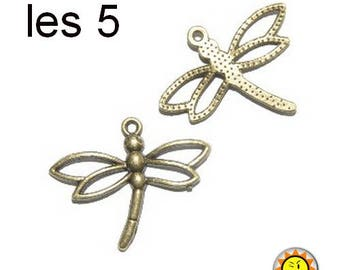 Dragonfly charm pendant 5 x bronze insect animals
