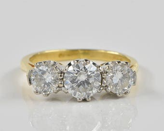 Elegant Art Deco 1.30 Ct diamond trilogy ring