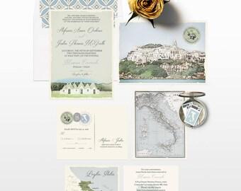 Destination wedding Italy Wedding Invitation Suite South Italian illustrated wedding invitation Puglia Basilicata Olive Deposit Payment