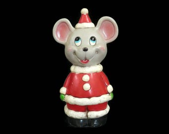 Ceramic Mouse Santa Coin Bank Vintage Christmas Decorations from Japan