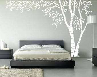 Birch Tree Nursery Wall Decal Forest Canopy Blowing Tree Leaves Vinyl Sticker Removable Choose From Over 50 Colors Custom White 1376