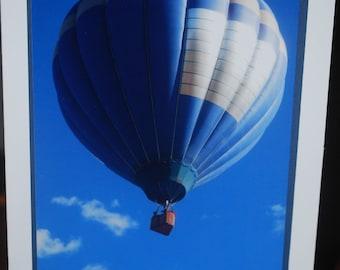 photo card, blue hot air balloon, Albuquerque New Mexico Balloon Fiesta