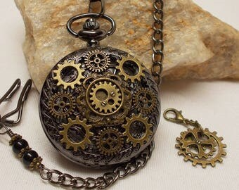 Steampunk Gears Pocket Watch & Charm Tag in Wood Gift Box - Stunning Men's Chain and Clip Or Necklace - Artisan Designed Pocket Watch