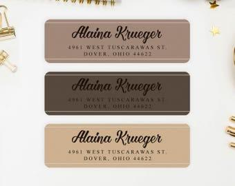 Address Labels / Coffee Colors Personalized Return Address Labels / Custom Address Labels / Address Sticker / Address Label Sticker / Alaina