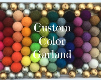 Custom Metallic Gold or Silver Felt Ball Garland, Pom Pom Garland, Nursery Decor,Felt Ball Bunting, Baby Shower Decor, Kids Room Garland