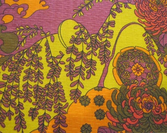 1960's Psychedelic Floral Butterfly Fabric, Pschedelic, Floral, Butterfly, Mod, Orange, Yellow, Purple, Brown, Cotton, Decorator, 1960's