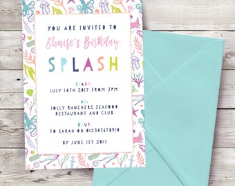 Mermaid Themed Personalised Party Invitations and Stationery