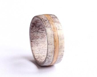 Oak Wood Ring, Mens Antler Wedding Ring With Oak Wood Inlay,  Deer Antler Wedding Band
