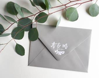 Custom Wedding Monogram Stamp - eucalyptus stamp - wedding monogram - wedding stamp - wedding rubber stamp - custom wedding stamp H6104