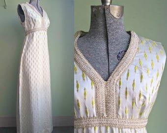 1960s Golden Goddess Maxi Dress - Large