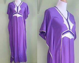 1970s Purple Kaftan - Corded Detailing - Small