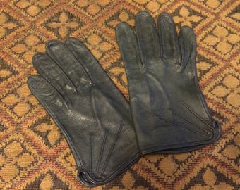 Vintage 1980s Little's Good Leather Gray Unlined Leather Driving Gloves (size Large / 7.5)