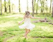 Girls white dress, Girls Ivory dress, Boho flower girl dress, flower swing photoshoot, summer outfit, bohemian flower girl dresses
