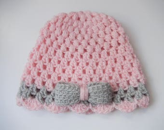 crochet baby girls hat / baby girl cap / hand made hat / shimmering pink and grey cap with bow 0-3 / 3-6 / 6-9 month