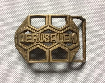 Vintage Jerusalem Brass Belt Buckle