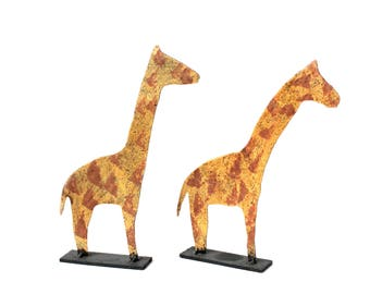 Vintage Pair of Metal Giraffes