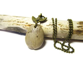 Lil' Coral Horn Fossil Necklace, Lake Michigan Fossil, 24 In Bronze Petite Ball Chain Unisex Necklace, Handmade, ShorelineDesigned, Natural